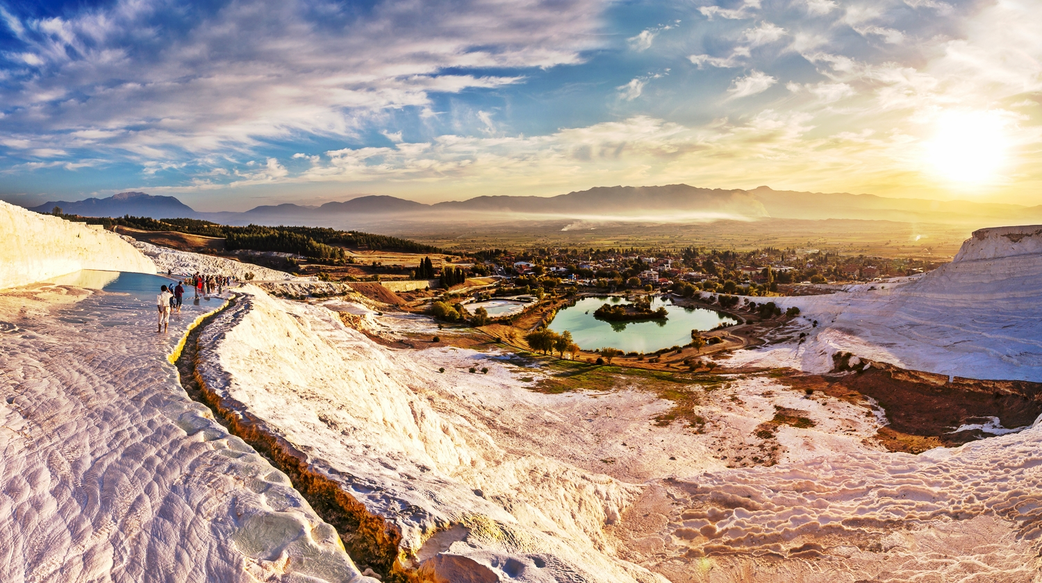 Travertine pools and terraces in Pamukkale